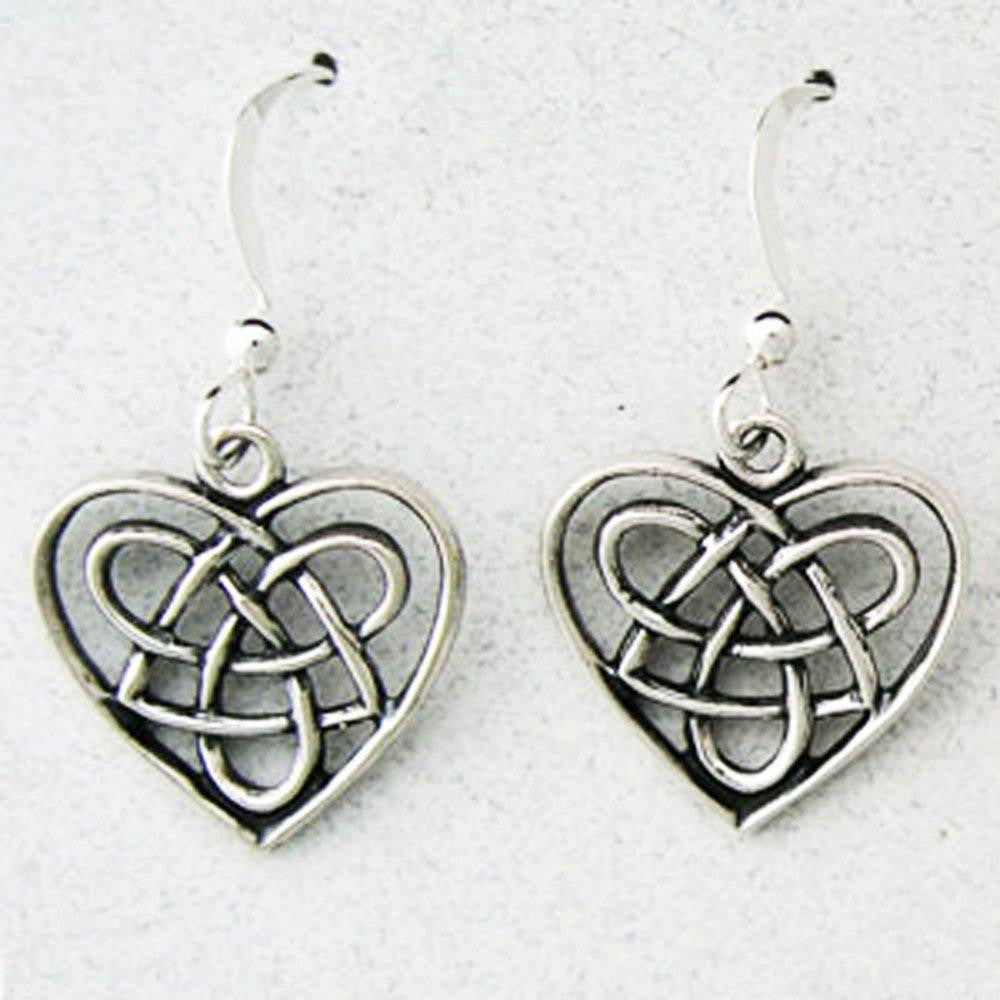 Celtic Knot Work Sterling Silver Copper Heart Shaped Earrings ESD02 Solid Sterling Silver Earrings celtic-copper-jewelry.myshopify.com