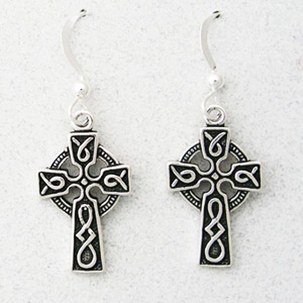 Celtic Cross Copper Knot Earrings ESD02 | Solid Sterling Silver Celtic Cross Earrings celtic-copper-jewelry.myshopify.com