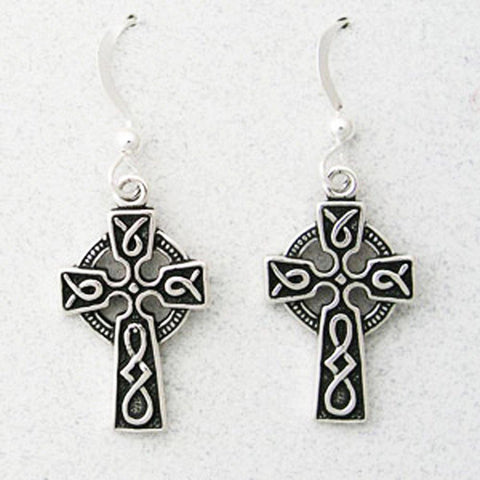 Celtic Cross Sterling Silver Copper Knot Work Earrings ESD02 Solid Sterling Silver Celtic Cross Earrings