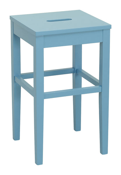 Dania Dust Blue Laquered Oak Square Seat Breakfast Bar Stool Simply Bar Stools