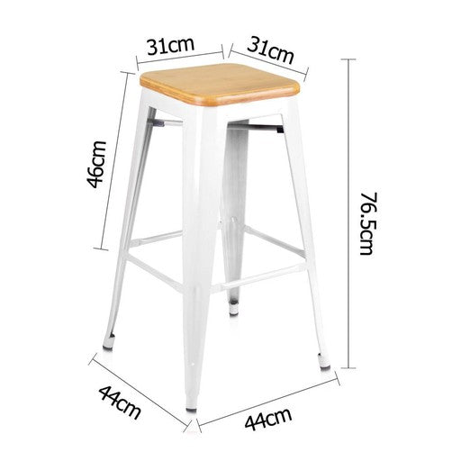 Quot Estelle Quot Replica Tolix Bar Stool With Bamboo Seat 76cm In