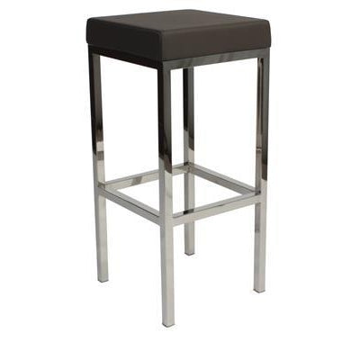 Quot Albany Quot Stainless Steel Frame Backless Padded Bar Stool In Charcoal Simply Bar Stools