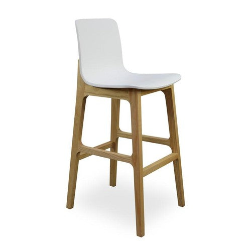 Quot Salerno Quot Modern Solid Timber And Plastic Bar Stool In