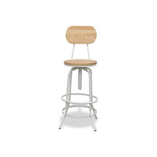 Superb Prato Industrial Metal And Timber Round Bar Stool In White Andrewgaddart Wooden Chair Designs For Living Room Andrewgaddartcom