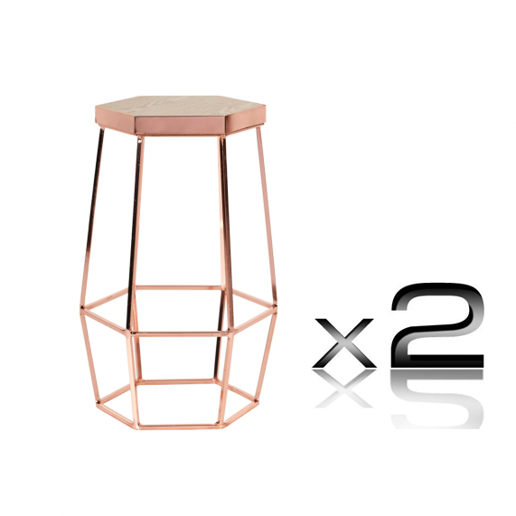 Quot Hex Quot Oak And Electroplated Steel Hexagonal Counter Stool