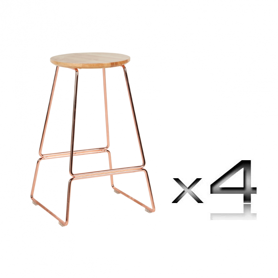 Brilliant Spice Metallic Copper With Round Oak Seat Kitchen Stool 65Cm Set Of 4 Pabps2019 Chair Design Images Pabps2019Com