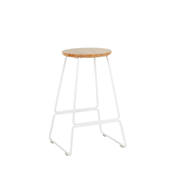 Quot Spice Quot Steel Frame Round Oak Top Kitchen Stool 65cm In