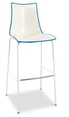 Miraculous Zebra Plastic Two Colour High Bar Stool 80Cm In White Blue Andrewgaddart Wooden Chair Designs For Living Room Andrewgaddartcom