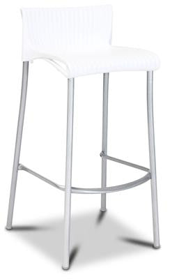 Yamba Stackable Resin And Aluminium Outdoor Bar Stool 76cm In White
