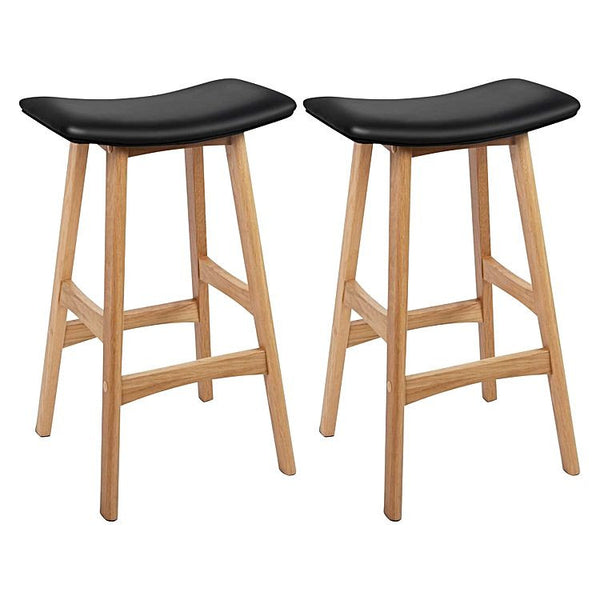 Quot Salma Quot Padded Wide Saddle Seat Oak Bar Stools In Black