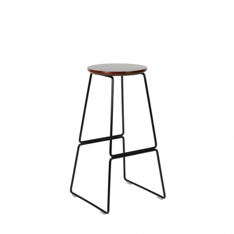 Quot Spice Quot Steel Frame Round Walnut Top Bar Stool 75cm In