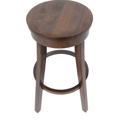 Quot Abbie Quot Traditional Round Timber Bar Stool 76cm In Walnut