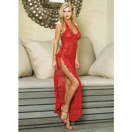 2pc Halter Lace Long Gown w/Ribbon Lace Up Side Slip & G  Red