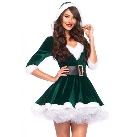 2pc Mrs. Claus,Velvet Hooded Dress And Belt  Green/White