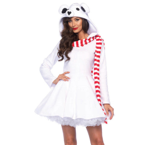 Cozy Polar Bear,Zipper Front Dress W/Bear Hood Attached Striped Scarf White
