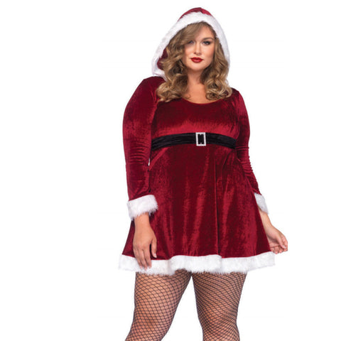 2pc Sexy Santa,Fur Trimmed Velvet Hooded Dress W/Buckle Red/White