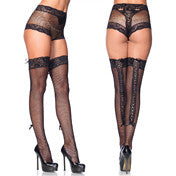 2pc Lace Trim Fishnet Panty w/Lace Up Back & Matching Thigh High