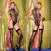 2 Piece Teddy And Matching Stockings Queen Sized (Black)