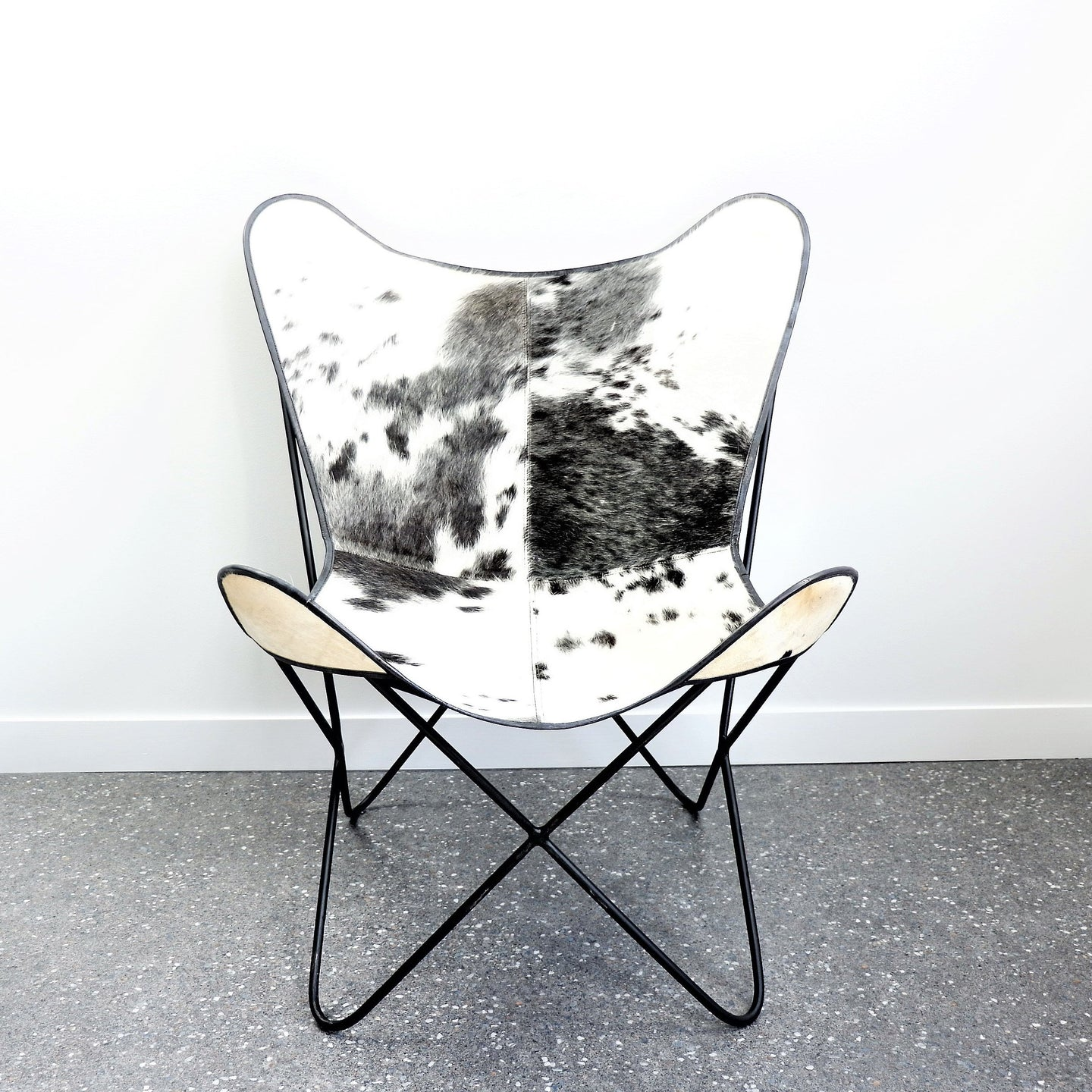 Outstanding Butterfly Cowhide Occasional Chair Black White Newtique Squirreltailoven Fun Painted Chair Ideas Images Squirreltailovenorg