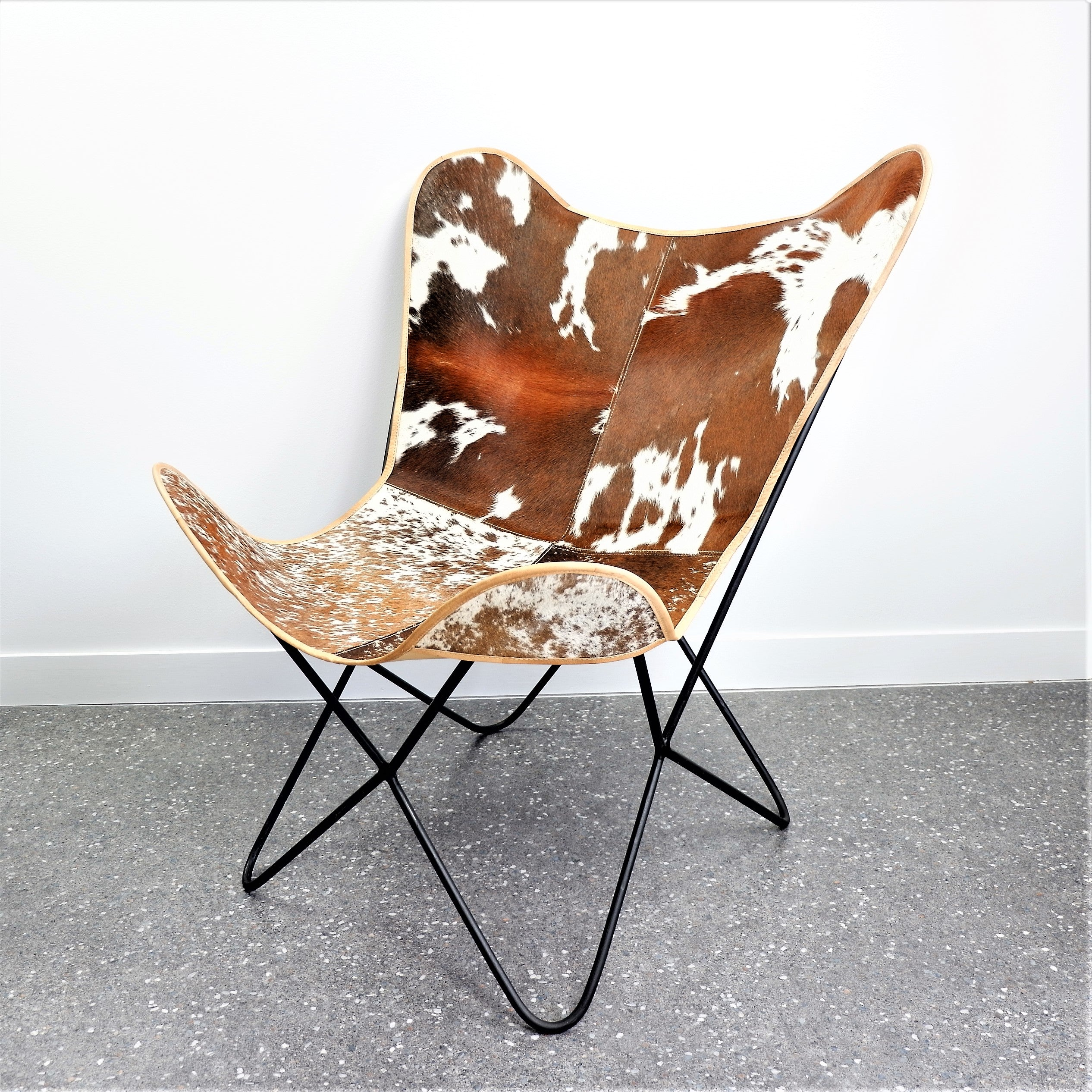 Miraculous Butterfly Cowhide Occasional Chair Brown White Newtique Squirreltailoven Fun Painted Chair Ideas Images Squirreltailovenorg