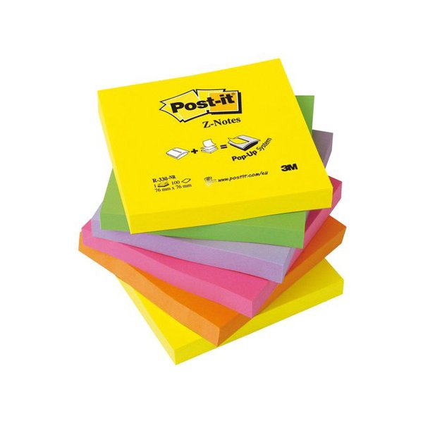 Post-it® PBL-B1Y Z-Notes Dispenser + Z-Notes, 3 X 3 In, 6