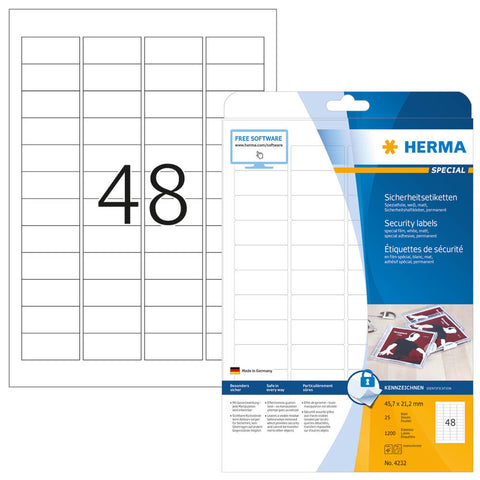 Herma 1.79x0.83 in Security Labels (pack of 1,200 pcs)