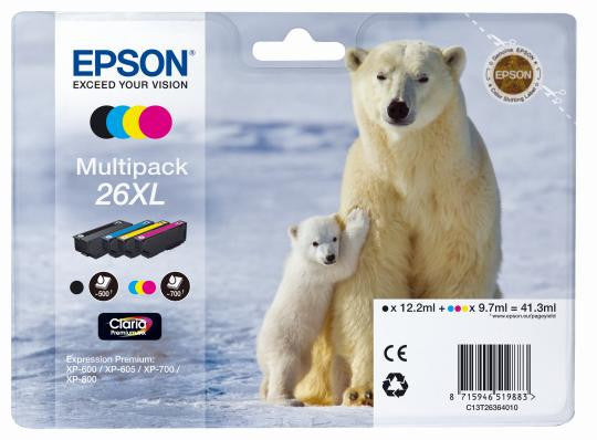 Epson 26 XL High Capacity Black and Color Multipack