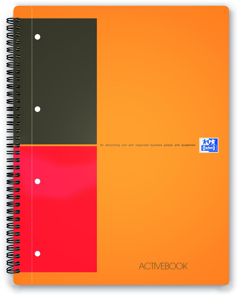International active book-lined A4 4 holes 80 sheets 80g flexible plastic cover orange