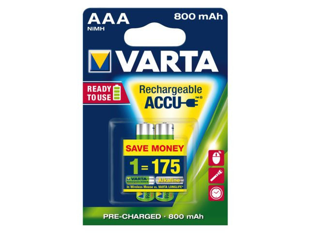 Varta AAA, 800mAh Rechargeable Battery (Pack of 2 pieces)