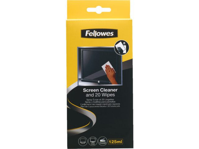 Fellowes Screen Cleaning Kit (4.2 Oz Screen Cleaning Spray + 20 Absorbent Wipes)
