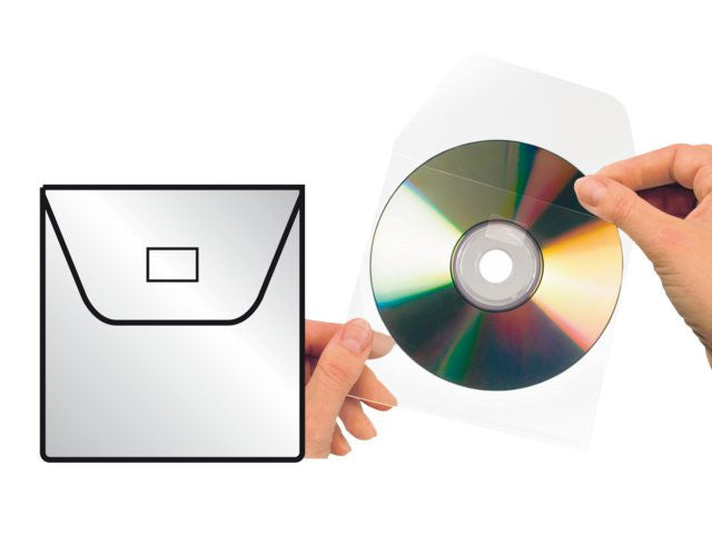 CD / DVD cover 6832-100, 127x127mm, with flap, self-adhesive, transparent, 100 pieces