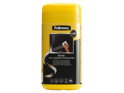 Fellowes Computer & Laptop Screen Cleaning Wet Wipes (Dispenser of 100 pieces)