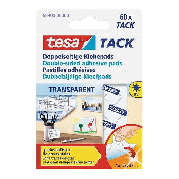 Tesa Tack Transparent Adhesive Pads (pack of 60 pieces)
