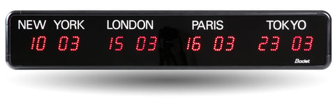 LED World Time Zone Wall Clock, 4 & 5 Time Zones