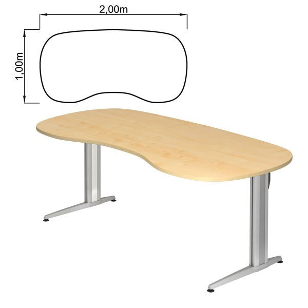 XS-Series C-Foot, Rectangular, with Rounded Corners Office Desk