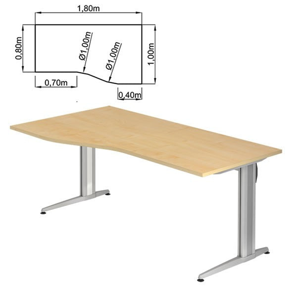 XS-Series C-Foot, Trapezoidal, Reversible Office Desk