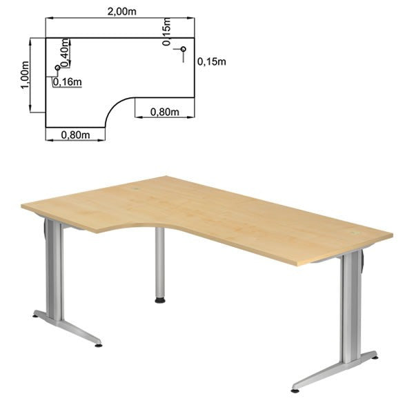 XS-Series C-Foot, 90° Angle, Reversible Corner Office Desk