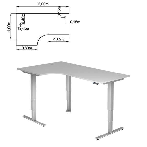 XDSM Series Desk T-Foot, electrically adjustable, 200x120cm corner form 90 ° (left or right to assemble), height 63,5-128,5cm (with memory), gray