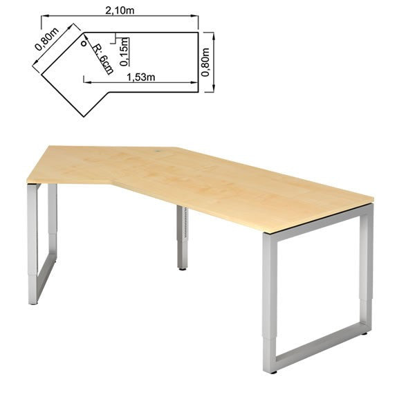 R-series 45° Angle, Height Adjustable, Reversible Corner Office Desk