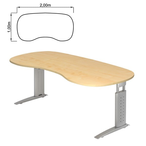 U-Series Rectangular, with Rounded Corners, Height Adjustable Office Desk