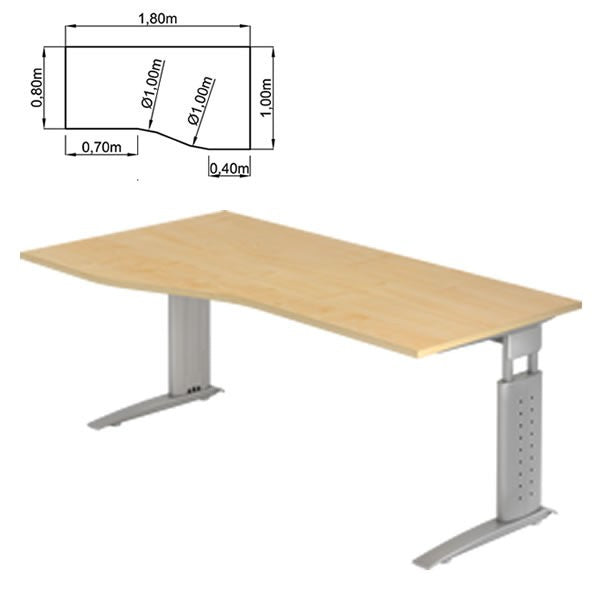U-Series Trapezoidal, Height Adjustable, Reversible Office Desk
