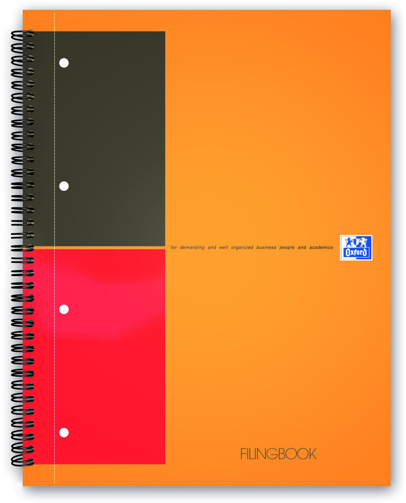 International filing book A4 lined 4 holes 100 sheets of 80g hard cardboard cover orange