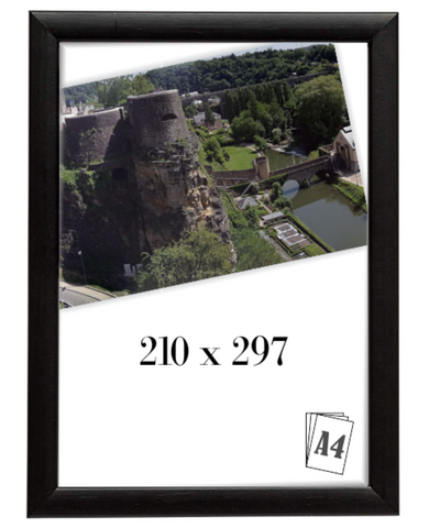 A4 Picture Frame, 210mm x 297mm, Black Frame (Pack of 2)