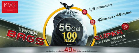 56 gal. Heavy Trash Bags, Black (100 ct)