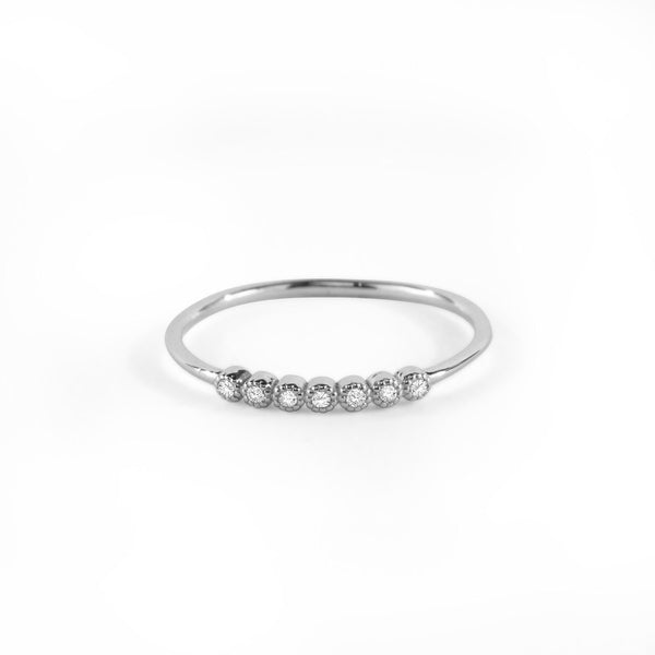 Seven Diamond Bezel Ring