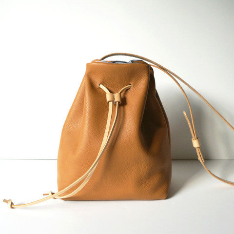 Claudia Camel Leather Bucket Bag