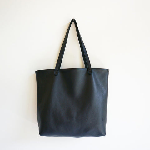 Marissa Black Leather Shopper Tote