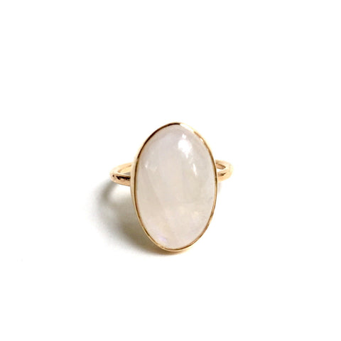 Moonstone + Gold Ring - Large