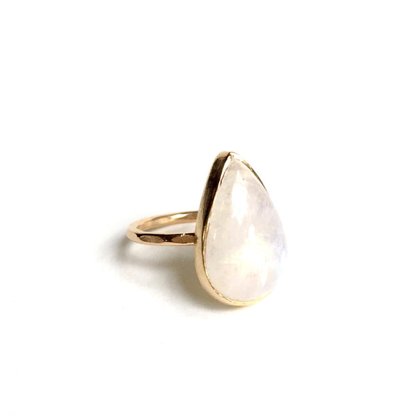 Pear Moonstone + Gold Ring - Large
