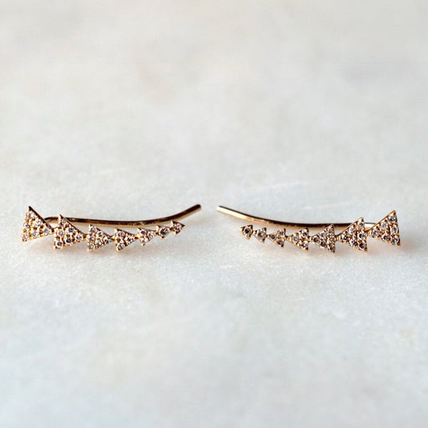 Diamond Triangle Crawler Earings